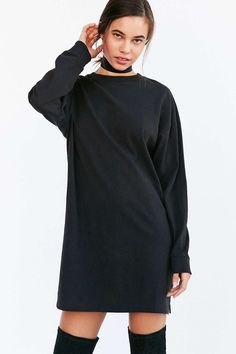 BDG Maeby Oversized Long-Sleeve T-Shirt Dress - Urban Outfitters