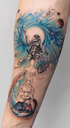 Deborah Genchi Creates Incredibly Versatile Tattoos watercolor space inspired tattoo © tattoo artist Deborah Genchi 💕💕💕💕💕 This image has get. Hand Tattoos, Wolf Tattoos, Forearm Tattoos, Finger Tattoos, Sexy Tattoos, Unique Tattoos, Beautiful Tattoos, Body Art Tattoos, Sleeve Tattoos