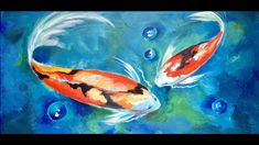 How to Paint Two Koi Fish in a Blue Lagoon by Ginger Cook a Beginner Acr...