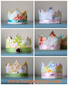 Birthday crown tutorial   fabric front, felt backing.... prettied up, and fastened with elastic and button.   Very elegant for a little princess.