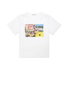 T-shirt in poplin Roger Mello print