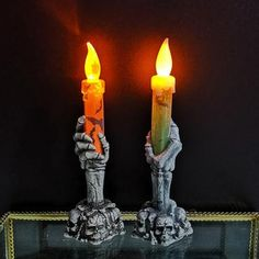 Skull Skeletal Hand Candle Stand LED Light Lamp Halloween Home Party Decor Led Candle Lights, Candle Lamp, Flameless Candles, Candle Stand, Led Lamp, Candle Sconces, Wall Lights, Halloween Party Decor, Diy Party Decorations