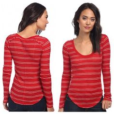 NWT free people slub layering tee size S Brand new with tags free people we the free red and white striped shirt size small. Semi sheer, super soft, really comfy!!! Original price $58 Free People Tops Tees - Long Sleeve