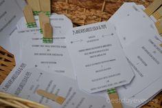 Decoración pai-pai con detalle del menú para boda en Hondarribia