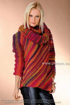 Pestrobarevný svetr s nákrčníkem   PLETENÍ – NÁVODY