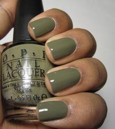 OPI Uh-Oh Roll Down the Window army green color. Really interesting color. Think you could pull it off?