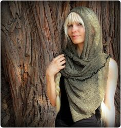 Its a poncho, a long scarf, a cowl hood and more. This rayon mesh fabric has an earthy texture, a gorgeous clingy drape, and a post apocalyptic