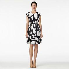 silk; box pleats; casual bodice; pockets; graphic jane dress via kate spade