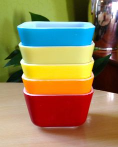 Pyrex 12 oz Rainbow Mini Refrigerator Dish Set USA.  I just got the red one with the lid!  It is so cute!  Hopefully I will find the others and have an entire set with each colour!