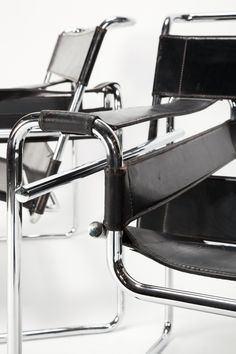 Marcel Breuer Wassily chair. bent tubular steel furniture. Design Inspired by his bicycle, chair named after Wassily Kandinsky. Strong backward slant for comfort. Design goal- transparency of form.