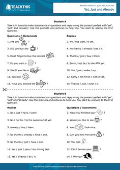 Present Perfect Just Yet Already ESL Activities Games Worksheets Grammar Activities, Teacher Worksheets, Grammar Worksheets, Teaching Resources, English Study, English Lessons, Learn English, Teaching English Grammar, English Vocabulary