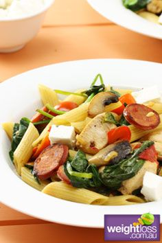 Healthy Dinner Recipes: Chicken & Chorizo Penne Recipe. #HealthyRecipes #DietRecipes #WeightlossRecipes weightloss.com.au