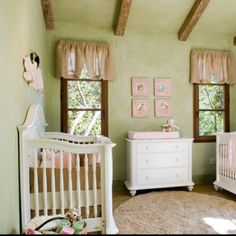 Green and pink nursery. Loving the sconces, maybe hints of burlap in the baby's room?