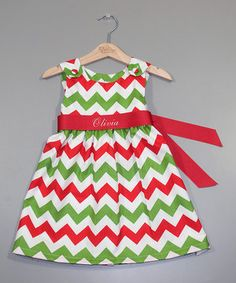 Love this Red & Green Personalized A-Line Dress - Infant, Toddler & Girls by Princess Linens on #zulily! #zulilyfinds