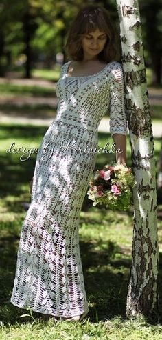 crochet wedding dress, boho wedding dress, bohemian maxi dress, Krinichka