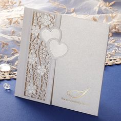 White & Gold Laser Cut Heart Wedding Invitations | ItsInvitation