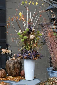 fall arrangement with bittersweet