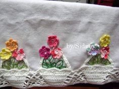 Crochet Boarders, Crochet Edging Patterns, Crochet Motif, Crochet Doilies, Crochet Diy, Filet Crochet, Vintage Crochet, Dish Towel Embroidery, Hand Embroidery Stitches