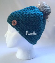 Crochet Handmade Messy Bun Hat Teal Green by MoomettesCrochet