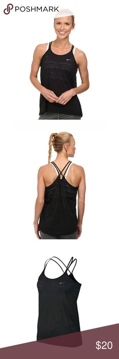 Nike Black Cool Running Tank Top Nike Cool Running Tank helps keep you dry, cool and comfortable with super lightweight fabric that features Dri-FIT technology. A relaxed fit and strappy racerback design help you hit your stride in flattering coverage. Dri-FIT technology moves sweat away from your skin to help you stay dry.  Black semi sheer striped pattern. Pairs perfectly with a sports bra. Black and reflective silver. Great pre-owned condition. No visible flaws.  Approximate measurements…