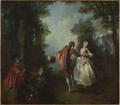 Elegant figures dancing in a wooded landscape Nicolas Lancret (French, Oil on canvas. As noted by Mary Tavener Holmes, this large-scale fête galante was almost certainly painted. Rococo Painting, Victorian Paintings, Baroque, French Rococo, Frederick The Great, Old Paintings, Romanticism, Paris, Art History