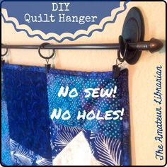 Yep, two steps – no sewing hanging pockets or sleeves to the quilt, and no holes in the wall! (For more info on my Hillside Houses quilt, read my post here! (Diy Gifts For Aunts) Quilt Wall Hangers, Tapestry Headboard, Hang Tapestry On Wall, Hanging Quilts On Wall, Quilt Storage, Quilt Racks, Quilt Display, Diy Apartment Decor, Diy Headboards