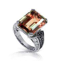 Scimitar 950 Platinum Ring (24.99 grams) featuring Zultanite® (15.85 carats), Black Diamonds (0.42 carats) and White Diamonds (0.82 carats).