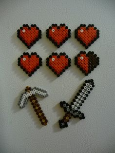 Life Heart and Tool Magnet Set Combo- Minecraft Inspired