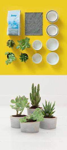 diy - cement plant pots that I would want to paint. Concrete Crafts, Concrete Projects, Concrete Design, Diy Projects, Diy Concrete Planters, Cement Pots, Decoration Plante, Ideias Diy, Potted Plants