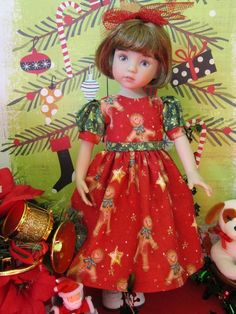 New Holiday Gingerbread Cotton Dress for Effner Little Darling or Betsy McCall   eBay