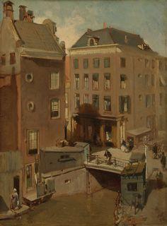 De Osjessluis bij de Kalverstraat te Amsterdam, Charles Rochussen, 1855