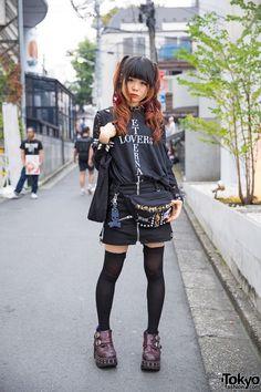 Harajuku Girl in Moi-Meme-Moitie, Hellcatpunks Zipper Skirt & Yosuke Platforms (Tokyo Fashion, 2015)