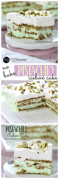 No Bake Pistachio Icebox Cake! This easy recipe takes just minutes to prepare a… No Bake Pistachio Icebox Cake! This easy recipe takes just minutes to prepare and requires no baking! The perfect summer dessert! Icebox Desserts, Icebox Cake Recipes, No Bake Desserts, Easy Desserts, Delicious Desserts, Dessert Recipes, Jello Desserts, Healthy Desserts, Cold Desserts