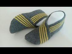 Bayan patik yapımı/iki şiş ile kolay patik modelleri/örgü patik - YouTube Easy Crochet Slippers, Crochet Slipper Pattern, Crochet Shoes, Knitted Booties, Sunflower Tattoo Design, Knitting Videos, Leather Clutch Bags, Learn To Crochet, Womens Slippers