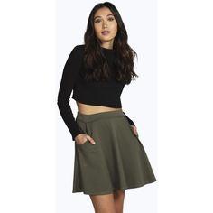 Boohoo Mia Ribbed Pocket Front Skater Skirt ($16) ❤ liked on Polyvore featuring skirts, khaki, knee length pleated skirt, pleated midi skirt, maxi skirt, circle skirt and flared mini skirt