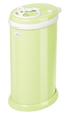 Ubbi Steel Diaper Pail - Powder coated steel and rubber seals to lock odors in, No special bag required, Improved design of the bag holder to avoid breakage, Updated with a covered rim to avoid bag from ripping open and with a better insertion mechanism to avoid rubber gasket from falling, Childproof safety lock. Made in China.