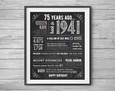 75th Birthday Printable 8x10 and 16x20 Party Sign by NviteCP