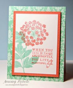 papertrey ink meadow greens | used PTI Meadow Greens stamps. Aqua mist patterned paper. Melon ...
