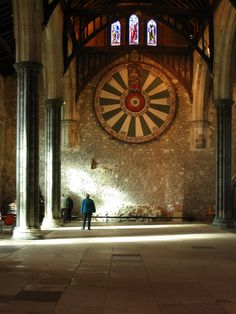 Winchester Castle's Great Hall w/ King Arthur's Round Table.  Winchester is in the county town of Hampshire in South England  is its former capital city.