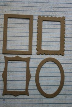 4 Bare chipboard mini frame Diecuts 4 styles 1 of each Craft Projects, Projects To Try, Craft Ideas, Cardboard Recycling, Handmade Scrapbook, Oval Frame, Chipboard, Scrapbook Albums, Die Cutting