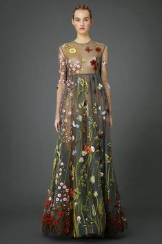 2015 Pre-Fall Valentino - floral embroidered gowns inspired by La Primavera by Sandro Botticelli