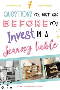 Are you planning to invest in a sewing table or need a new cutting table? Here are the 7 questions you need to ask first + the 9 best options available in 2020 Sewing Machine Tables, Sewing Table, Craft Room Storage, Craft Organization, Mason Jar Crafts, Mason Jar Diy, Vinyl Projects, Diy Craft Projects, Diy Crafts