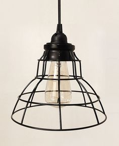 Tesla V Flat Industrial Cage Pendant Lamp with Plug-in Cord | October Design Co.