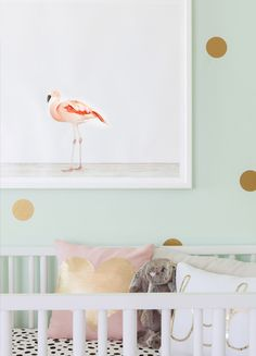 Give your nursery a modern vibe with a flamingo print.