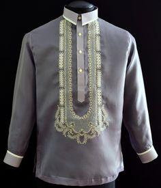 Gray Barong Tagalog - Barongs R us Barong Tagalog, Filipiniana Dress, Philippines Fashion, Embroidery Neck Designs, Line Shopping, Casual Shirts, Suits, Stylish, Big Sizes