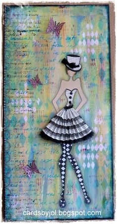 Canvas with a Julie Nutting fashion girl Use the City Girl stamps as a basis, color, shrink, add to trading cards or dominos Prima Paper Dolls, Prima Doll Stamps, Collage Kunst, Collage Art, Mixed Media Canvas, Mixed Media Collage, Art Journal Pages, Art Journals, Round Robin
