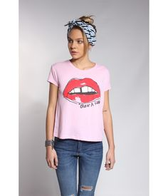 Remera Blow Lips rosa