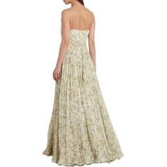 Alexander McQueen Pleated floral-print silk-chiffon gown (6,290 NZD) ❤ liked on Polyvore featuring dresses, gowns, white loose dress, white cutout dresses, floral gown, white fitted dress and floral dresses