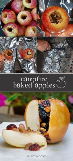 For a quick healthy snack, carve an apple, fill it with trail mix, and bake it on the fire. food healthy 20 Camping Food Hacks That Will Blow Your Mind Camping Desserts, Camping Recipes, Camping Dishes, Camping Ideas Food, Fall Camping Food, Camping Dinner Ideas, Campfire Cooking Recipes, Camping Kitchen, Skillet Recipes