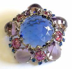 Vintage Schreiner N.Y Brooch Pin~Blue/Lilac/Purple/Pink RS/Silvertone~Signed #SchreinerNewYork